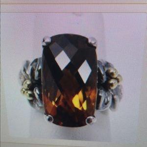 Ann King Sterling and Cinnamon Quartz Ring